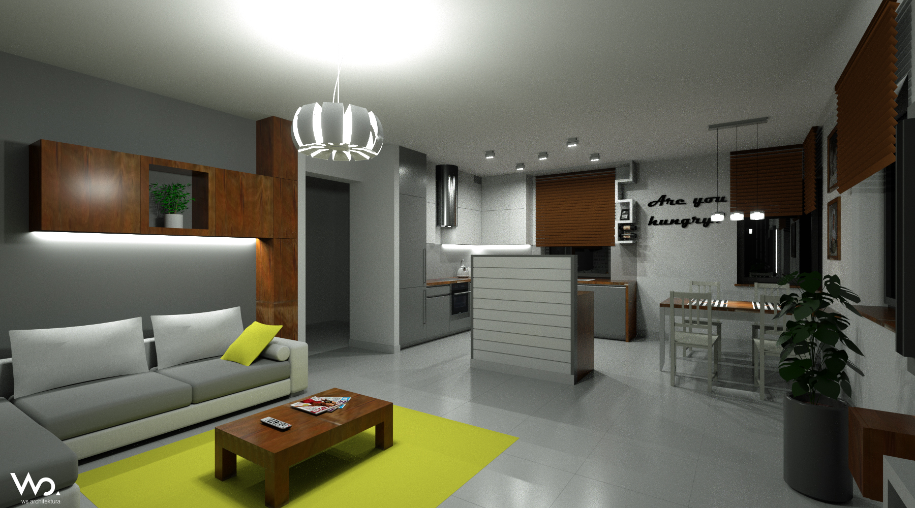 Projekty wn trz for Projekty kuchni z salonem
